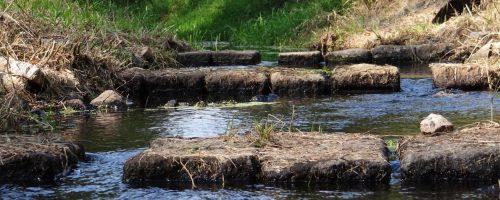 Fischtreppe mit knietiefem Wasser, südlich des Bogensees